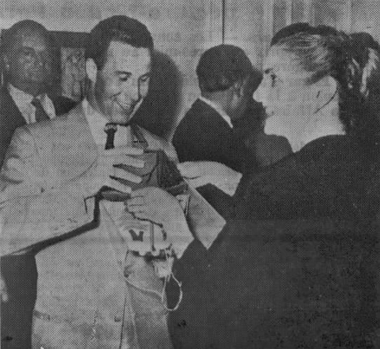 First Lady Zalfa Chamoun gives Lebanon, Nebraska representative, Charles Harris a cedrus libani sapling. (Charles Harris was killed a few days later in no-man's-land between Jordan and Israel. Intriguing episode that I'll be exploring later on.