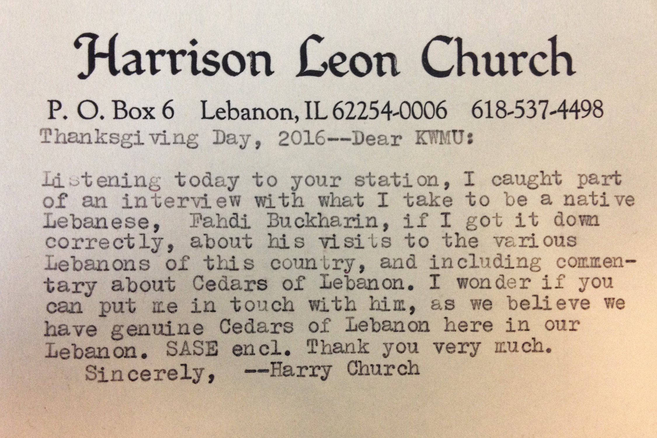 Letter sent by Harry Church to KWMU St. Louis.